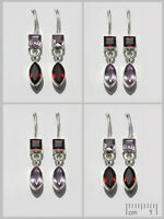 GENUINE 925 STERLING SILVER FINE AMETHYST+ GEMSTONE EARRINGS 4 PR WHOLESALE LOT