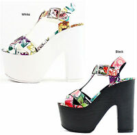 Women's Delicious Richael-S Floral Open Toe Platform Buckle Criss Cross Wedge