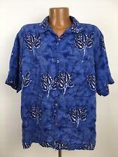 Guess Hawaiian Shirt Men's XL Blue Dyed Linen Rayon Blend Floral Paisley