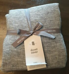 West Elm Belgian Flax Linen California King Duvet Cover - Brand New