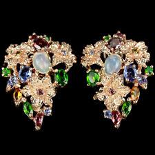 Große Ohrringe Opal Turmalin Tansanit 925 Silber 585 Roségold vergoldet
