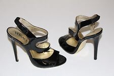 "Versace for H&M 7 Black Patent Strappy Sandals 4.5"" Heels Gold Leather Soles 38"