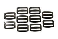 10 x 40mm Black Plastic 3 Bar Slides For Webbing,Straps,Bags,Crafts Etc