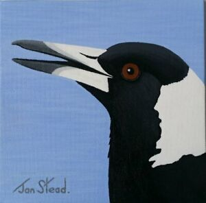"Small Painting 8 X 8 Acrylic - Original Art - ""Magpie"""