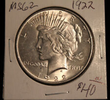 """1922 Peace Dollar  MS """"Sixty Two"""" Grade, Very Nice Silver Coin!"""