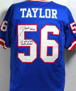 Lawrence Taylor Autographed Blue Pro Style Jersey w/ 2 Insc- Beckett W