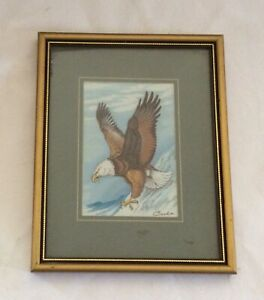 """VINTAGE CASH'S FRAMED """"BALD EAGLE """" WOVEN SILK & RAYON PICTURE. MADE IN ENGLAND"""