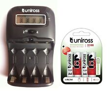 UNiROSS LCD 1-2 HOUR AA/AAA CHARGER & 4 x AA 2100 Series Hybrio Rechargeables