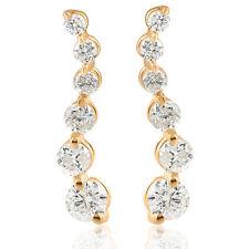 Ladies 1/2ct Diamond Journey Earrings 14K Yellow Gold