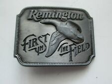 """VINTAGE BELT BUCKLE """"REMINGTON FIRST IN THE FIELD CANADA GOOSE"""" 2 1/2"""" W 1 7/8 H"""