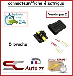 connecteur de fiche électrique pour véhicule 5 branchement vendu par deux