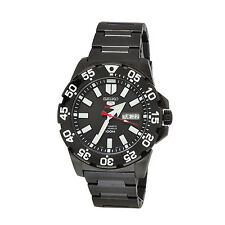 Seiko 5 Monster Automatic Sports Black Dial Black Ion Plated Watch SRP489