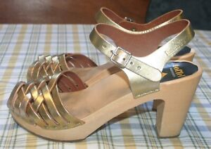 Swedish Hasbeens metallic Gold Leather Braided Sky High Sandals Size 39