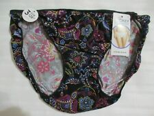 JOCKEY 6 STRING BIKINI 1330 TACTEL NO PANTY LINE BLACK MULTICOLOR FLORAL PANTIES