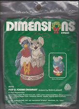 Dimensions 8016 Peep & Squeak Merry Christmas Crewel Ornament Kit from 1981 NIP