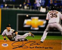"SF Giants Joe Panik Signed 8x10 Photo WS Dive ""Don't Panik"" - Auto PSA DNA COA"