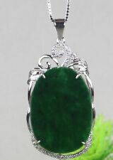 Certified Green Natural A Jade Jadeite 925 Silver Inlaid Fashion Pendant 167016