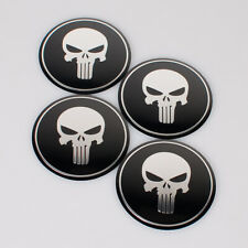 4Pcs 56mm Aluminium Car Wheel Center Caps Hub Cover Skull Logo Emblem Stickers