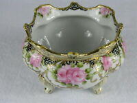 Antique Nippon Hand Painted Porcelain Footed Gold Trim Beaded Bowl Japan