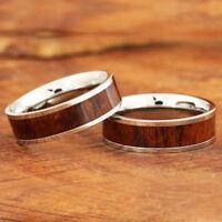 6mm Koa Wood Ring Stainless Steel Wedding Ring Flat SLR6108