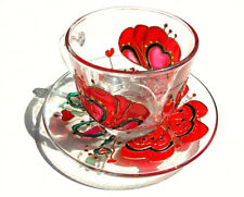 Floral Tea Cup and Saucer Glass Set Flowers Red Poppies Cup Grandma Gift