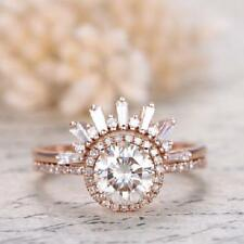 Natura Diamond Moissanite Engagement Crown Ring Set 14K Rose Gold Women Jewelry