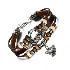 Men Leather Bracelet Elephant Wood Bead Charm Wristband Hobo Surder Toggle Clasp