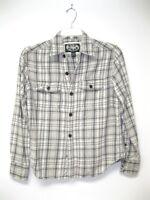 VTG 1990s SOFT Gray Plaid 100% Cotton Button Up Flannel Shirt size S Unisex