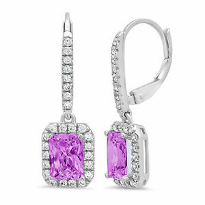 3.57 ct Emerald Halo Simulated Alexandrite 18k White Gold Lever Back Earrings