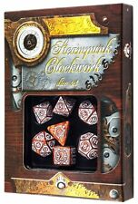 Q-workshop 7 Dice Set of Caramel & White Clockwork Steampunk SSTC72