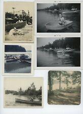 (21) Vintage photo lot / BOATING Rowboat Outboard Motor Boats Sail OLD SNAPSHOTS