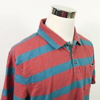 The North Face Mens XL Polo Shirt Red Blue Striped Cotton Blend Casual Outdoors