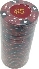 Poker Chips (25) $5 Tri-Gold 14 g Clay Composite FREE SHIPPING *