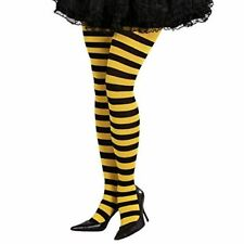 Yellow & Black Striped Bumble Bee Witch Clown Tights One Size Fancy Dress Item
