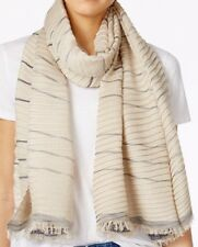 MICHAEL Michael Kors Pleated Metallic Scarf in Brown Navy Brand New $58