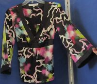 EUC Stunning TRINA TURK Los ANGELES Tunic TOP Silk & Spandex V-Neck Made US Sz M