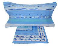 Completo di Lenzuola 1 piazza e mezza con DUE FEDERE in Cotone Ariel blu