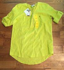 NWT Women ELLEN TRACY Limeade Green Linen Blouse Size Medium M $89.50