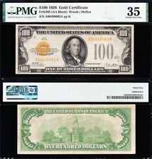 Amazing *RARE* Choice Crisp VF++ 1928 $100 Gold Certificate! PMG 35! FREE SHIP!