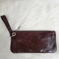 HOBO INTERNATIONAL Brown Glazed Leather Toni or Zoe Wristlet Clutch Wallet Purse