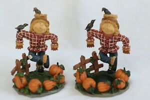 Pair of Home Interiors Scarecrow Votive/Tealight Candleholders