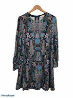 Ann Taylor Loft Blue Paisley Print Long Sleeve Stretchy Shift Dress Medium Flare