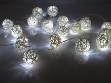 20 Cool White Handmade Rattan Balls Fairy String Lights Wedding Party Home Decor