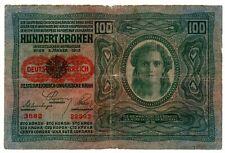 IMPERO AUSTROUNGARICO RARA BANCONOTA DA 100 CORONE DEL 1912