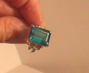 Certified RARE Natural 17.80ct Greenish Blue Grandidierite Ring Sterling Size  7