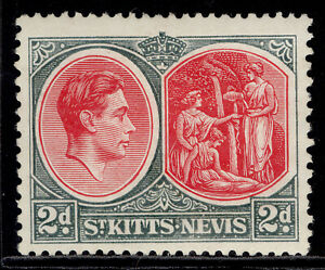 ST KITTS-NEVIS GVI SG71a, 2d carmine & deep grey, M MINT. Cat £55. PERF 13 X 12