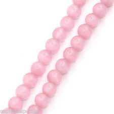 10 perles oeil de chat 6 mm rose