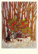 1985 Russian p/card HARE IN THE FOREST SAW MOSQUITO ON THE BUSH by Iu.Vasnetsov