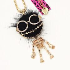 Betsey Johnson Black Rabbit Fur Skull Skeleton Pendant Sweater Chain Necklace