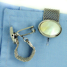 Silver Cufflinks Mother of Pearl Wrap Around Mesh Chain Mens Cuff Links T Bar